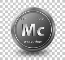 Moscovium chemical element. Chemical symbol with atomic number and atomic mass.