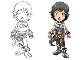 Steampunk character cartoon coloring page for kids vector