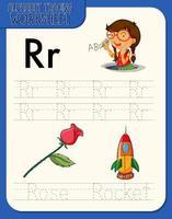 hoja de trabajo de rastreo alfabético con las letras ry r vector
