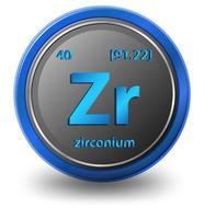 elemento químico de circonio. símbolo químico con número atómico y masa atómica.