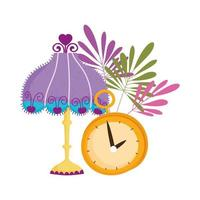 lámpara reloj tiempo decoración hojas naturaleza vector