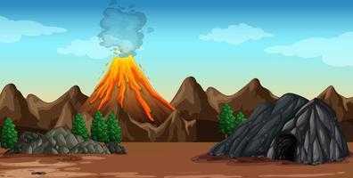 Volcano eruption in nature scene vector