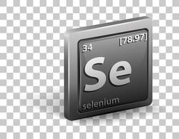 Selenium chemical element. Chemical symbol with atomic number and atomic mass.