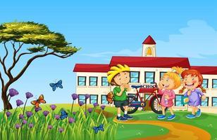 niños felices jugando en la naturaleza al aire libre vector