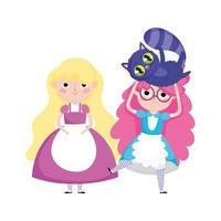 chicas con personajes de dibujos animados de gatos en el país de las maravillas vector