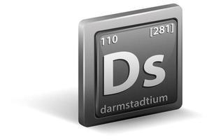 elemento químico darmstadtium. símbolo químico con número atómico y masa atómica.