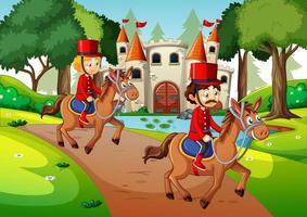 soldados a caballo en la escena del castillo vector