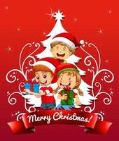 Merry Christmas font with children wearing Christmas costume on red background vector