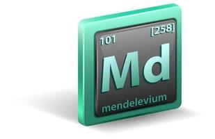 elemento químico mendelevio. símbolo químico con número atómico y masa atómica.