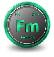 elemento químico de fermio. símbolo químico con número atómico y masa atómica.