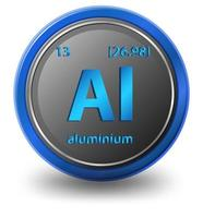 Aluminium chemical element. Chemical symbol with atomic number and atomic mass.