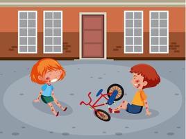 Dos niños heridos en la mejilla y el brazo por montar en bicicleta en la escena de la calle vector