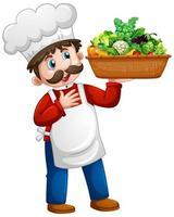 Chef hombre sosteniendo un cubo de verduras personaje de dibujos animados aislado sobre fondo blanco. vector