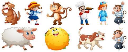 Conjunto de diferentes personajes de rimas infantiles aislado sobre fondo blanco.