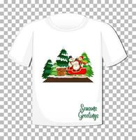Santa Claus sitting in sleigh cartoon character in Christmas theme on t-shirt on transparent background vector