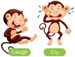 Opposite words with laugh and cry vector