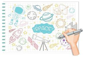 Hand drawing space element doodle on paper vector