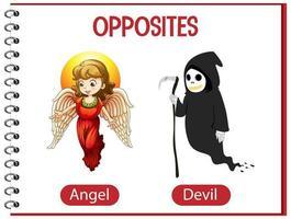 palabras opuestas con ángel y diablo vector