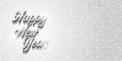 elegante diseño de banner de feliz año nuevo de plata vector