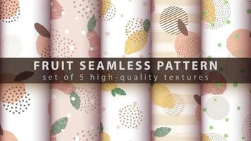 Set of modern seamless pattern background with lemon, apple, pear vector