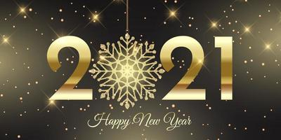 Happy New Year banner with glittery snowflake design vector