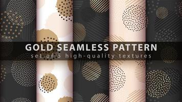 Set of modern seamless pattern background with gold, glitter shapes vector