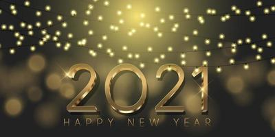 Gold and black Happy New Year design 0212 vector