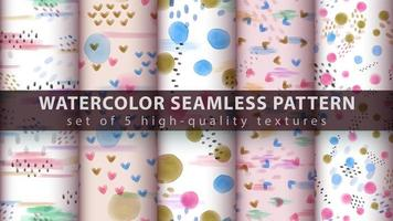 Set of modern seamless pattern background with watercolor shapes vector