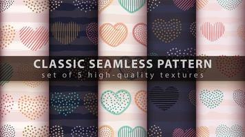 Set of modern seamless pattern background with abstract heart shapes vector