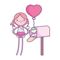 happy valentines day, cupid with heart mailbox card balloon cartoon