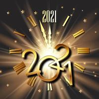 Happy New Year background with clock face and metallic numbers vector