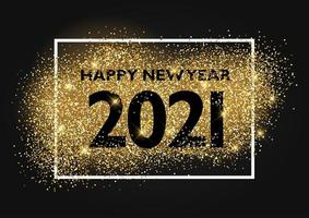 Happy New Year background with glittery gold design vector