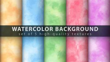 Colorful watercolor texture background set vector
