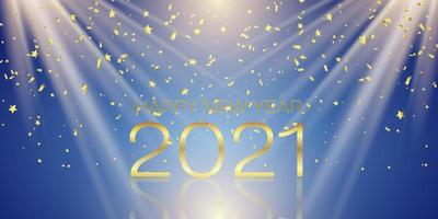 Happy New Year banner with gold confetti design