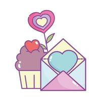 happy valentines day, mail card and cupcake hearts love flower vector