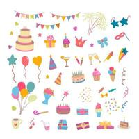 cumpleaños set elemento vector illustration