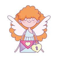 happy valentines day, cute cupid with envelope message padlock