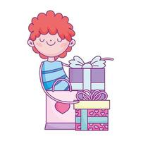 happy valentines day, boy with gifts and shopping bag cartoon vector
