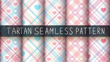Set of tartan seamless pattern background set with heart shapes
