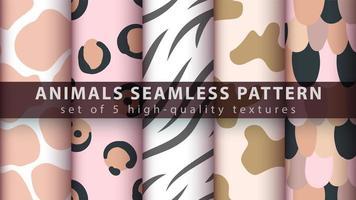Modern animal print seamless pattern background set vector