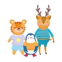 back to school, penguin tiger deer with clothes cartoon