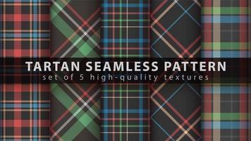 Set of classic tartan seamless pattern background