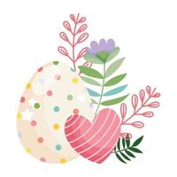 happy easter beauty egg with dots and striped heart flowers decoration vector