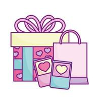 happy valentines day, smartphone shopping bag and gift celebration love