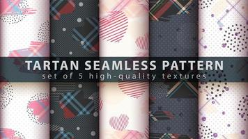 Set of geometric shapes with tartan seamless pattern background