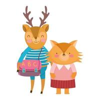 back to school, fox deer with clothes and bag cartoon