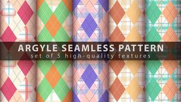 Set of colorful argyle seamless pattern background