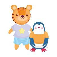 Lindo pingüino y tigre con personaje de dibujos animados de ropa