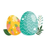 happy easter decorative eggs with carrots and lines foliage