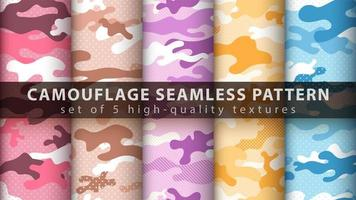 Set pixel camouflage military seamless pattern background